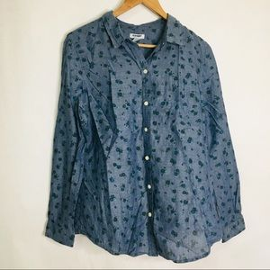 Old navy women's chambray floral button up top